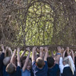 Pupils lifting Willow Dome, St.Mary's RC Primary School Ryde